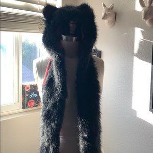 Black kitty  beanie scarf